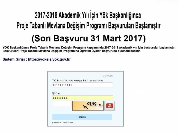 2017 - 2018 AKADEMİK YILI PROJE TABANLI MEVLANA DEĞİŞİMİ BAŞVURULARI